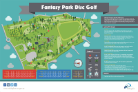 An image showing the map of Fantasy Park Disc Golf. Dude Clothing Straight Talk Good Disc Golf Course Design Fantasy Park