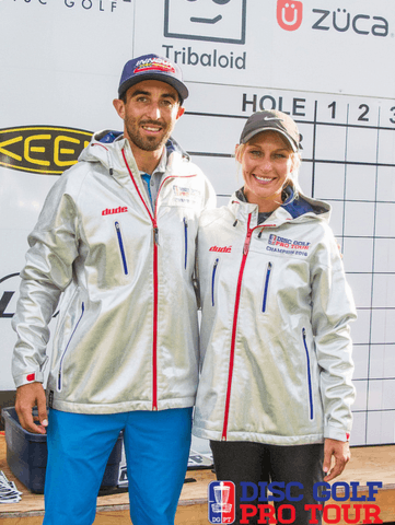 Paul McBeth and Catrina Allen - proud winners of the Dude silver jacket