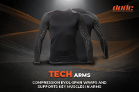 An image showing two black tech arms compression shirt for disc golf frisbee