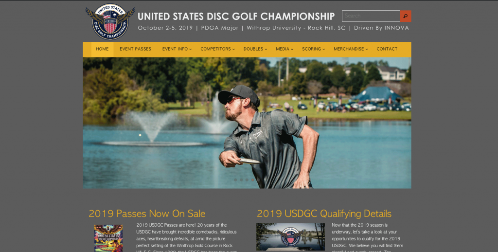 an image of front page website of USDGC